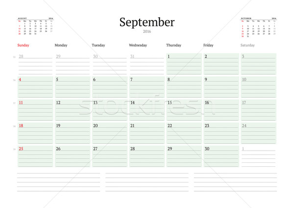 Monthly Calendar Planner 2016. Vector Design Print Template. September. Week Starts Sunday Stock photo © mikhailmorosin