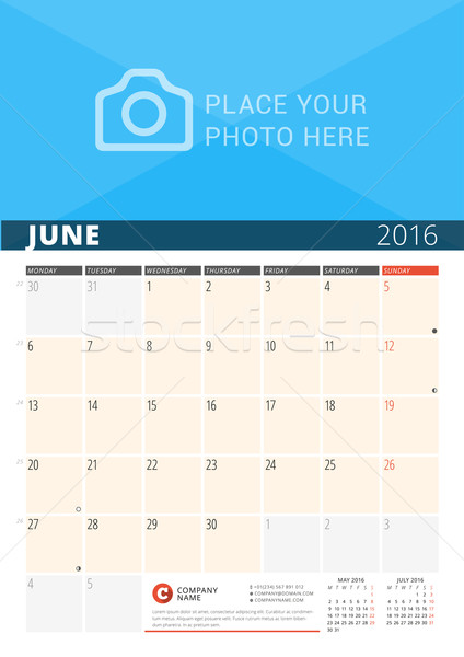 Wall Calendar Planner for 2016 Year. Vector Design Print Template with Place for Photo and Notes. We Stock photo © mikhailmorosin