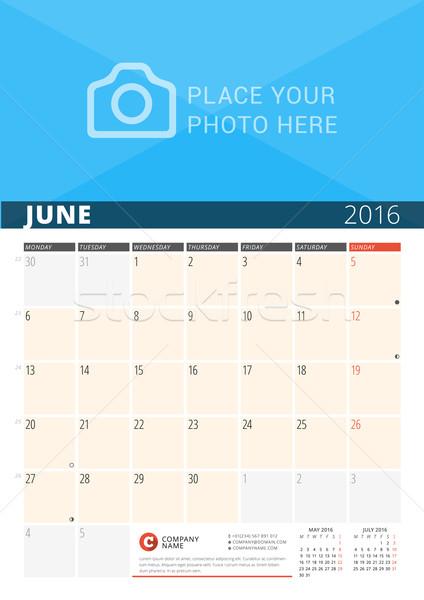 Mur calendrier planificateur 2016 année vecteur Photo stock © mikhailmorosin