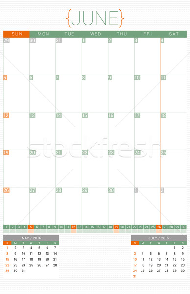 Calendar Planner 2016 Design Template. June. Week Starts Sunday Stock photo © mikhailmorosin