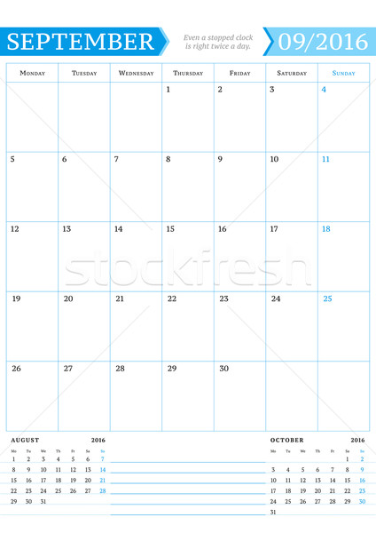 September 2016. Monthly Calendar Planner for 2016 Year. Vector Design Print Template with Place for  Stock photo © mikhailmorosin