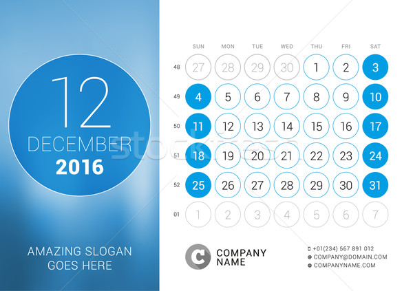 December 2016. Desk Calendar for 2016 Year. Vector Design Print Template with Place for Photo and Ci Stock photo © mikhailmorosin