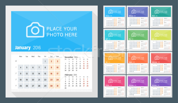 Desk Calendar for 2016 Year. Week Starts Monday. 3 Months on Page. Set of 12 Months. Vector Design P Stock photo © mikhailmorosin