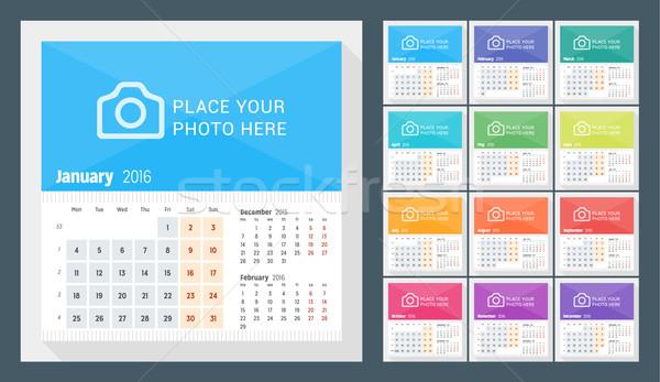 Desk calendario 2016 anno settimana mesi Foto d'archivio © mikhailmorosin