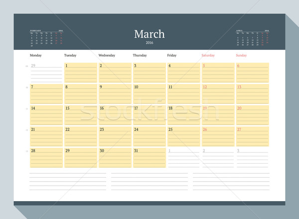 March 2016. Monthly Calendar Planner for 2016 Year. Vector Design Print Template. Week Starts Monday Stock photo © mikhailmorosin