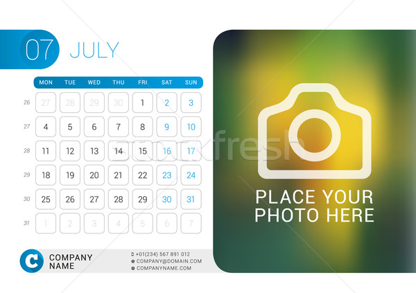 Stock photo: Desk Calendar for 2016 Year. July. Vector Design Print Template with Place for Photo, Logo and Conta