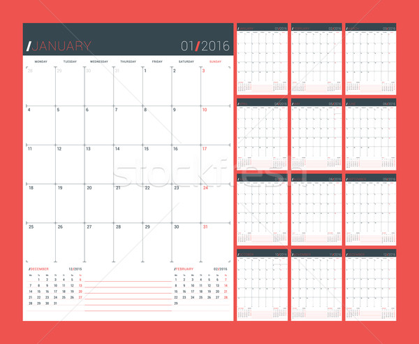 Calendar Planner for 2016 Year. Vector Design Print Template. Week Starts Monday. Set of 12 Months Stock photo © mikhailmorosin