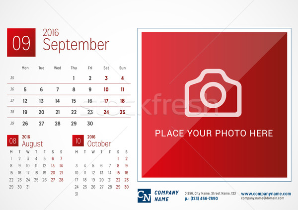 Desk Calendar 2016. Vector Print Template. September. Week Starts Monday Stock photo © mikhailmorosin