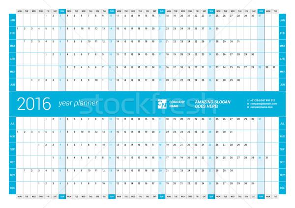 Blue Calendar Planner 2016 Year. Vector Design Print Template. Week Starts Monday Stock photo © mikhailmorosin