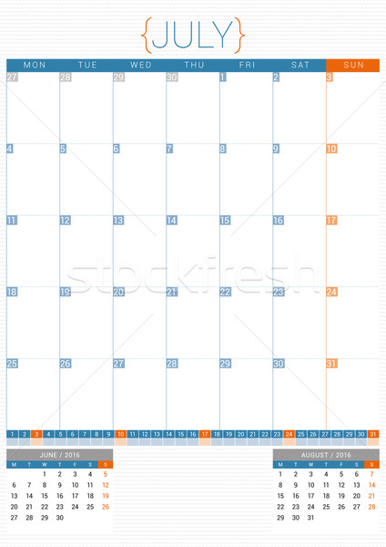 Calendar Planner 2016 Design Template. July. Week Starts Monday Stock photo © mikhailmorosin