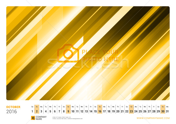 Wall Monthly Line Calendar for 2016 Year. Vector Design Print Template. Landscape Orientation. Octob Stock photo © mikhailmorosin
