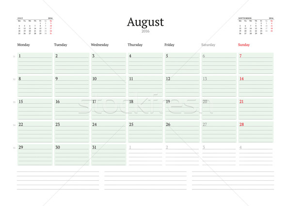 Monthly Calendar Planner 2016. Vector Print Template. August. Week Starts Monday Stock photo © mikhailmorosin