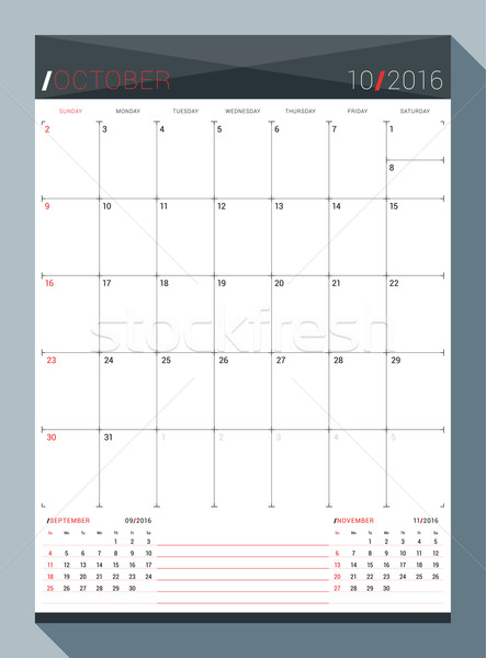 October 2016. Vector Design Print Template. Monthly Calendar Planner for 2016 Year. 3 Months on Page Stock photo © mikhailmorosin