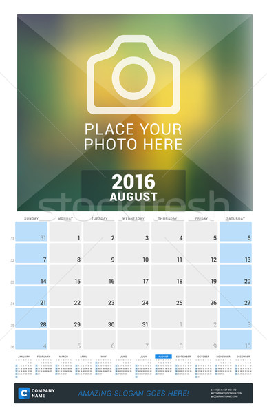 August 2016. Wall Monthly Calendar for 2016 Year. Vector Design Print Template with Place for Photo  Stock photo © mikhailmorosin