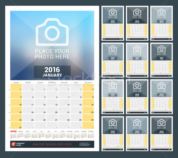 Fal havi naptár 2016 év vektor Stock fotó © mikhailmorosin