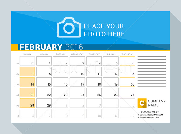 Calendar Planner for 2016 Year. February. Vector Print Template with Place for Photo, Logo and Conta Stock photo © mikhailmorosin