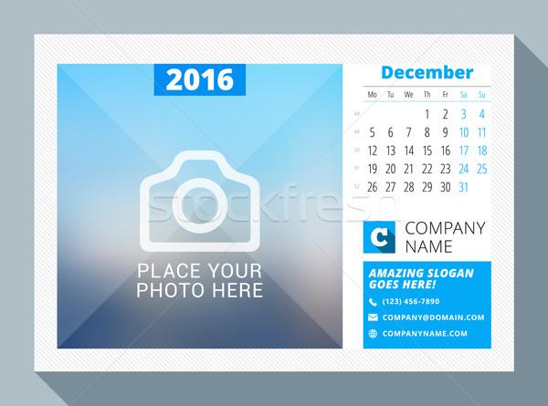 December 2016. Desk Calendar for 2016 Year. Vector Design Print Template with Place for Photo, Logo  Stock photo © mikhailmorosin