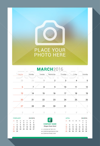March 2016. Wall Monthly Calendar for 2016 Year. Vector Design Print Template with Place for Photo.  Stock photo © mikhailmorosin