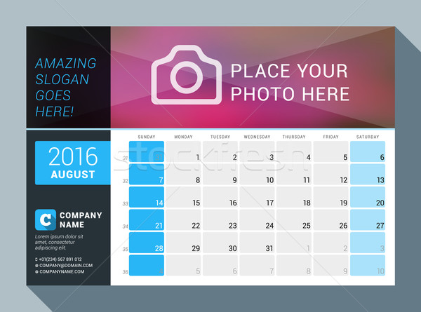 August 2016. Vector Design Print Calendar Template for 2016 Year. Place for Photo, Logo and Contact  Stock photo © mikhailmorosin
