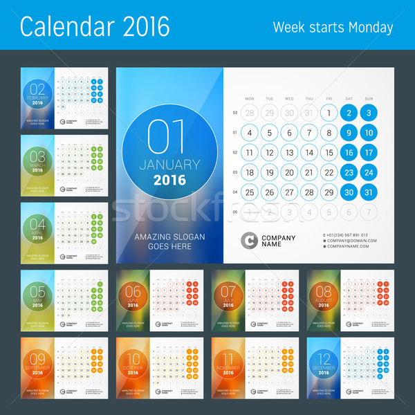 Desk Calendar for 2016 Year. Vector Design Print Template with Place for Photo and Circles. Week Sta Stock photo © mikhailmorosin