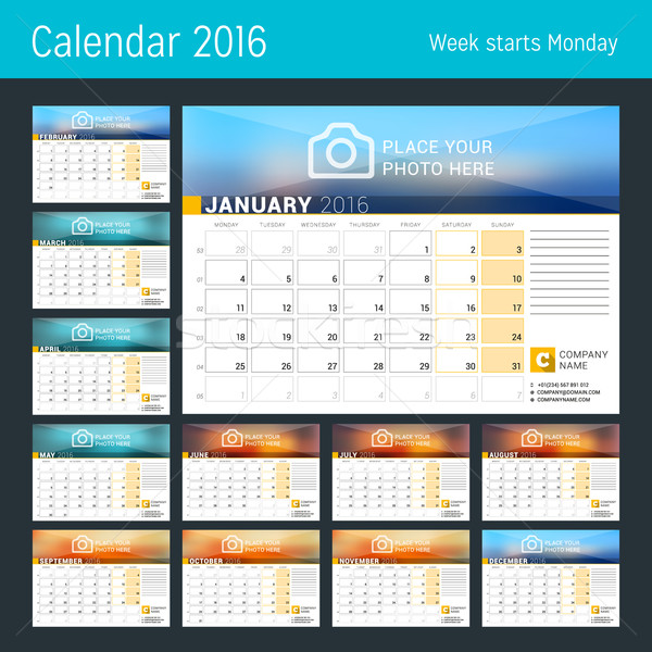 Stock photo: Desk Calendar for 2016 Year. Vector Design Print Template with Place for Photo, Logo and Contact Inf