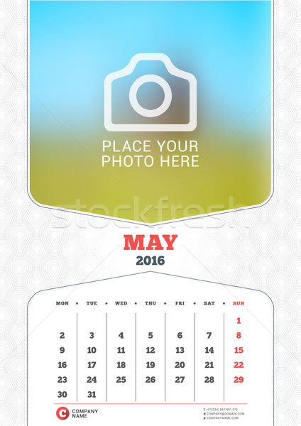 May 2016. Wall Monthly Calendar for 2016 Year. Vector Design Print Template with Place for Photo and Stock photo © mikhailmorosin