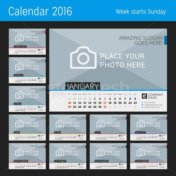 Desk Calendar 2016. Vector Print Template with Place for Photo. Set of 12 Months. Week Starts Sunday Stock photo © mikhailmorosin