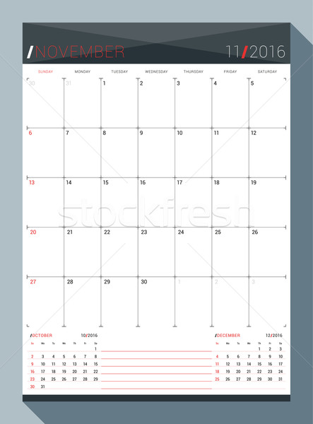 November 2016. Vector Design Print Template. Monthly Calendar Planner for 2016 Year. 3 Months on Pag Stock photo © mikhailmorosin