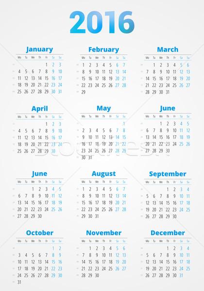 Calendar for 2016 Year. Vector Design Print Template. Week Starts Monday Stock photo © mikhailmorosin