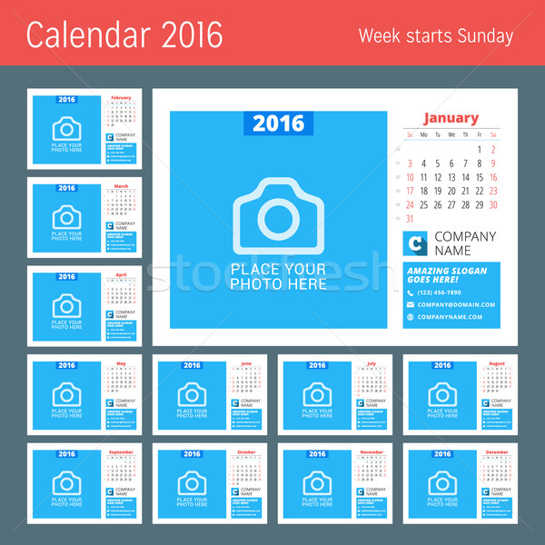 Calendar Template for 2016 Year. Vector Design Calendar Template with Place for Photo. Week Starts S Stock photo © mikhailmorosin