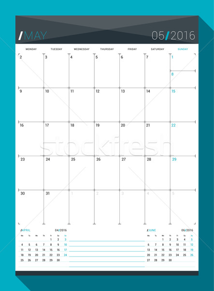 May 2016. Vector Design Print Template. Monthly Calendar Planner for 2016 Year. Week Starts Monday Stock photo © mikhailmorosin