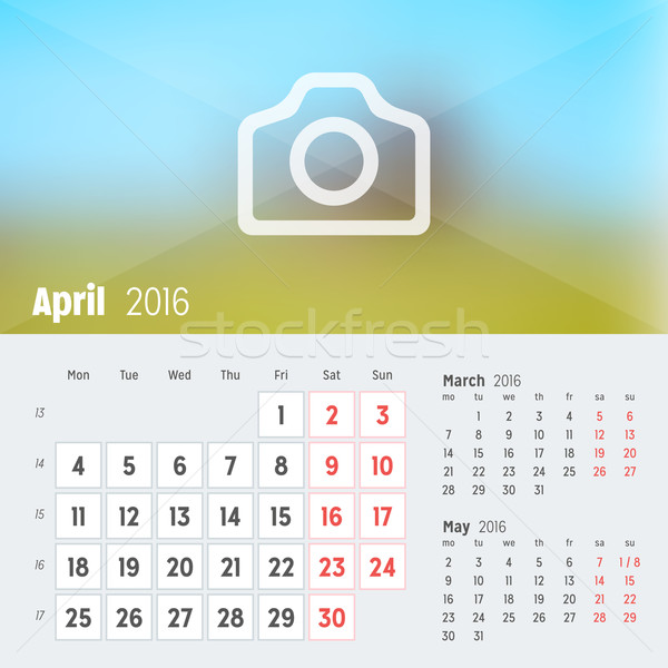 April 2016. Desk Calendar for 2016 Year. Vector Design Print Template with Place for Photo. Week Sta Stock photo © mikhailmorosin