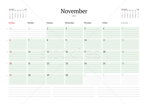 Monthly Calendar Planner 2016. Vector Design Print Template. November. Week Starts Sunday Stock photo © mikhailmorosin