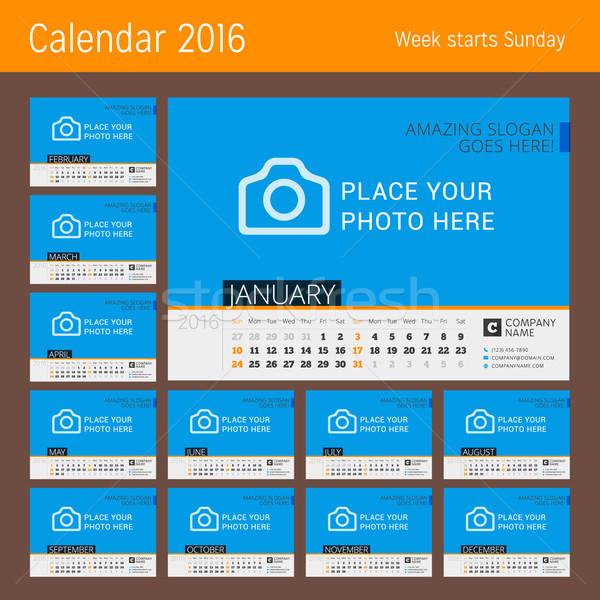 Calendario plantilla 2016 año vector diseno Foto stock © mikhailmorosin
