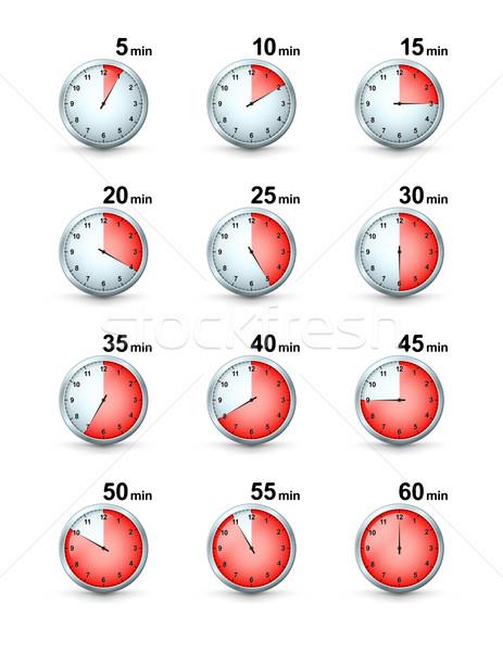 вектора набор красный таймер иконки различный Сток-фото © mikhailmorosin