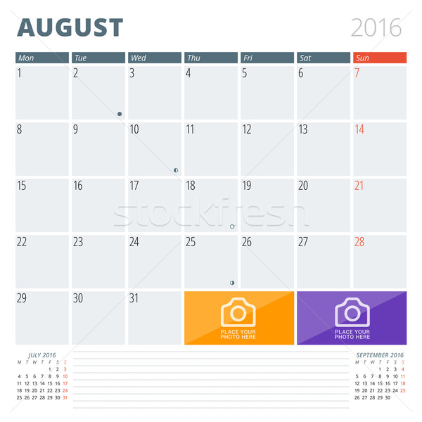 Calendar Planner 2016 Design Template with Place for Photos and Notes. August. Week Starts Monday Stock photo © mikhailmorosin