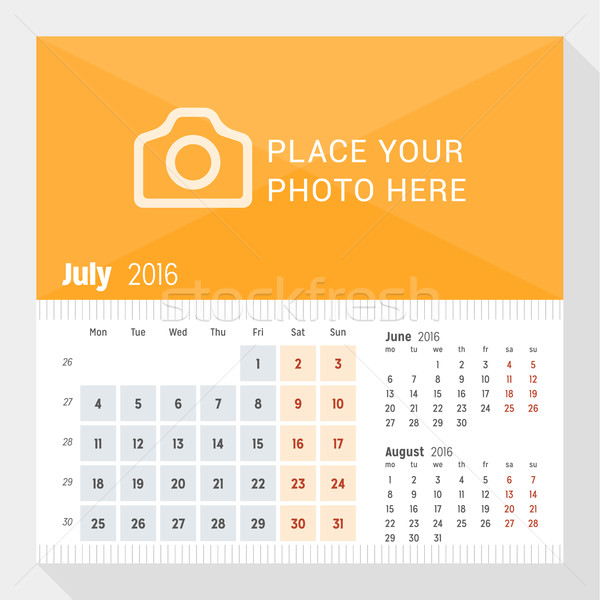 July 2016. Desk Calendar for 2016 Year. Week Starts Monday. 3 Months on Page. Vector Design Print Te Stock photo © mikhailmorosin