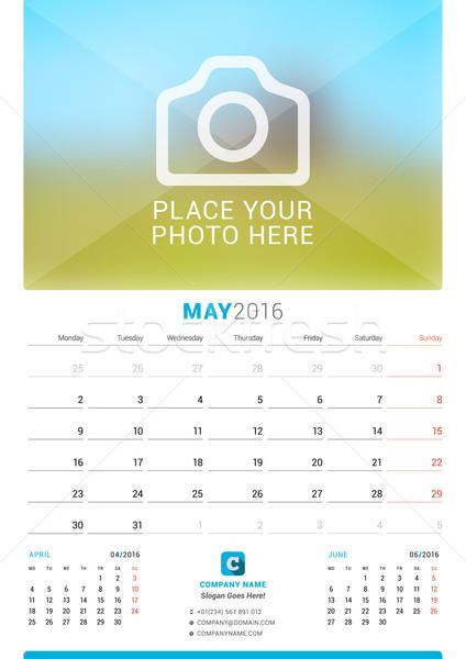 2016 parede mensal calendário ano vetor Foto stock © mikhailmorosin