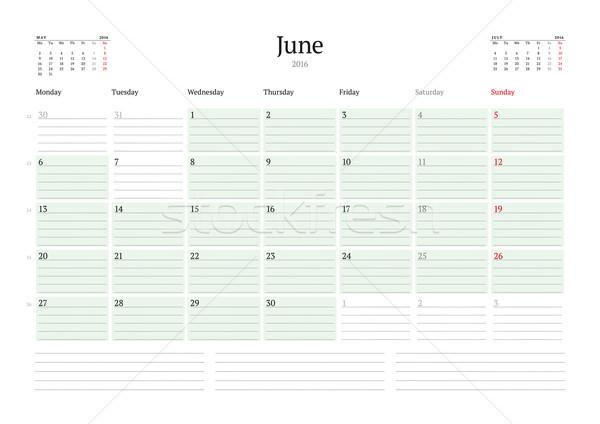 Havi naptár tervező 2016 vektor nyomtatott Stock fotó © mikhailmorosin