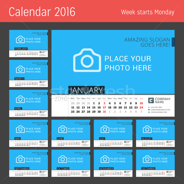 Calendar Template for 2016 Year. Vector Design Calendar Template with Place for Photo. Week Starts M Stock photo © mikhailmorosin