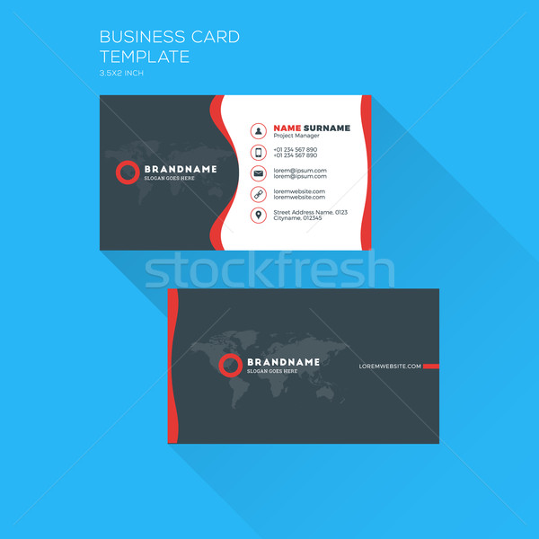 stock photo stock vector corporate business card print template personal visiting card with company logo clean flat design