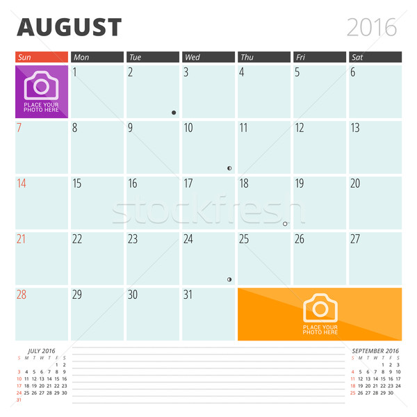 Calendar Planner 2016 Design Template with Place for Photos and Notes. August. Week Starts Sunday Stock photo © mikhailmorosin