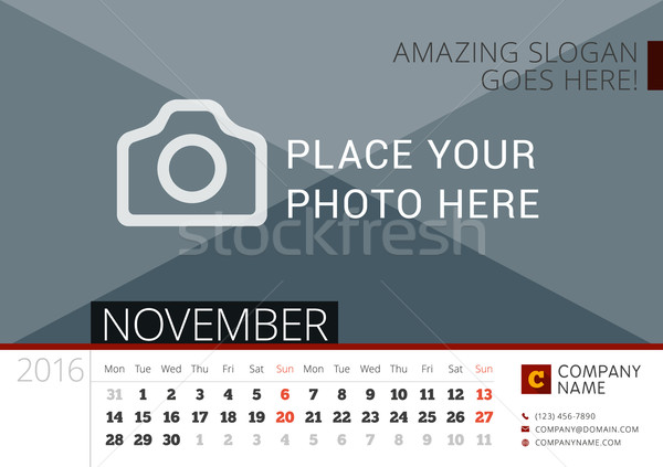 Desk Calendar 2016 Year. Vector Design Print Template with Place for Photo. November. Week Starts Mo Stock photo © mikhailmorosin