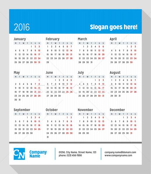 Takvim 2016 yıl hafta vektör dizayn Stok fotoğraf © mikhailmorosin