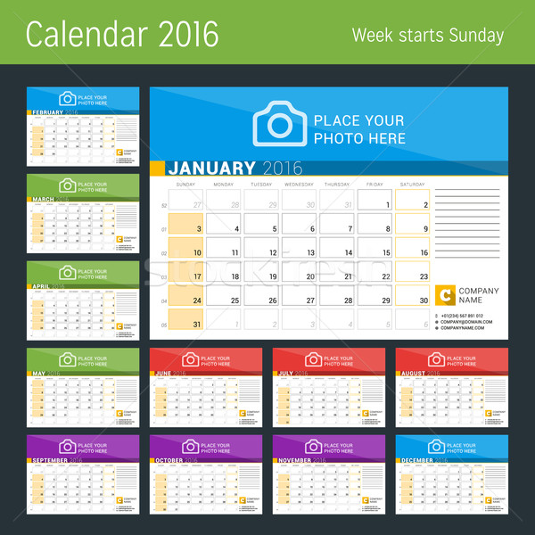 Calendar Planner for 2016 Year. Vector Print Template with Place for Photo, Logo and Contact Informa Stock photo © mikhailmorosin