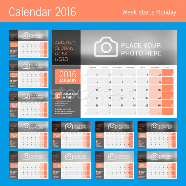 Calendar Planner for 2016 Year. Vector Design Calendar Planner Template with Place for Photo. Week S Stock photo © mikhailmorosin