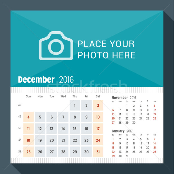 December 2016. Desk Calendar for 2016 Year. Week Starts Sunday. 3 Months on Page. Vector Design Prin Stock photo © mikhailmorosin
