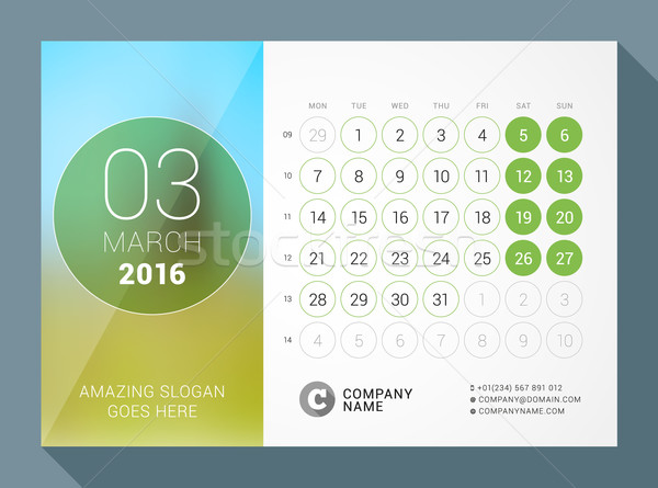 March 2016. Desk Calendar for 2016 Year. Vector Design Print Template with Place for Photo and Circl Stock photo © mikhailmorosin