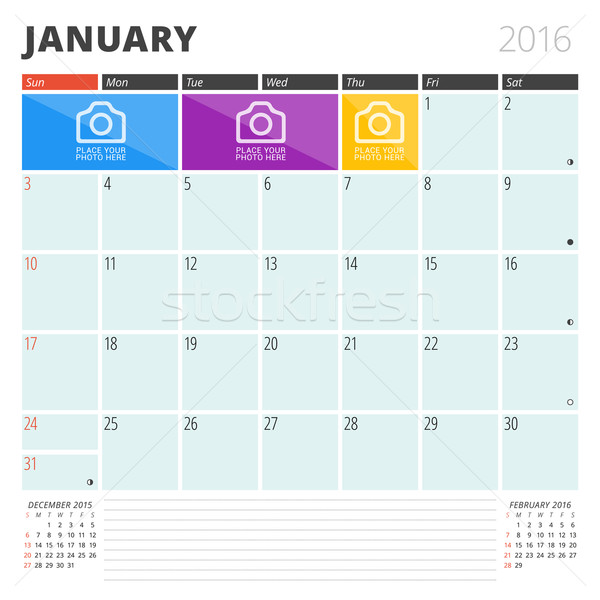 Calendar Planner 2016 Design Template with Place for Photos and Notes. January. Week Starts Sunday Stock photo © mikhailmorosin