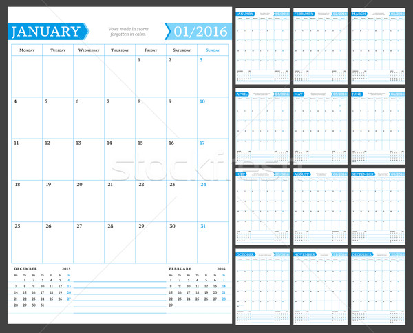 Monthly Calendar Planner for 2016 Year. Vector Design Print Template with Place for Notes. Week Star Stock photo © mikhailmorosin